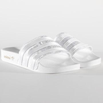 Adidas Originals - Claquettes Femme Adilette EG5162 Footwear White Gold Metallic