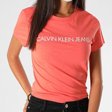 Calvin Klein - Tee Shirt Femme Institutional Logo 3127 Orange
