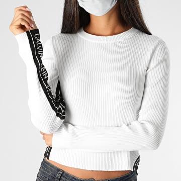 Calvin Klein - Pull Femme A Bandes Stripe Logo 4138 Blanc
