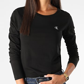 Calvin Klein - Tee Shirt Manches Longues Femme CK Embroidery 4143 Noir