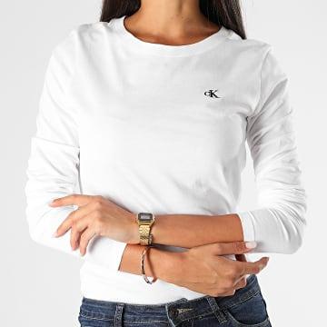 Calvin Klein - Tee Shirt Manches Longues Femme CK Embroidery 4143 Blanc