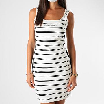 Calvin Klein - Robe Débardeur Femme A Rayures Et Bandes Stripe Milano 4171 Blanc Noir