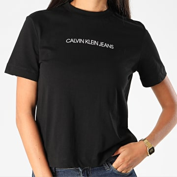 Calvin Klein - Tee Shirt Femme Shrunken Institution 4220 Noir