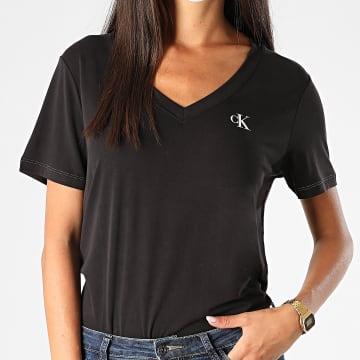 Calvin Klein - Tee Shirt Femme Col V Cupro 4223 Noir