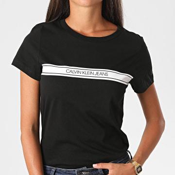 Calvin Klein - Tee Shirt Femme Modern Stripe Slim 4237 Noir