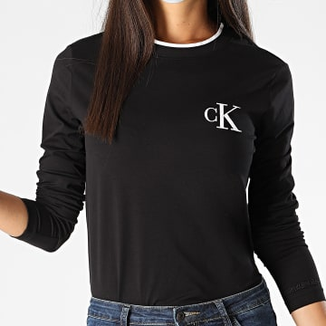 Calvin Klein - Tee Shirt Manches Longues Femme CK Embroidery Tippin 4459 Noir