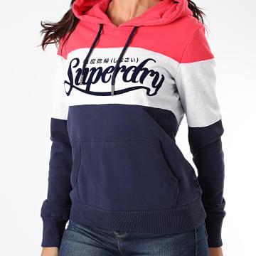 Superdry - Sweat Capuche Femme PL Colour Block Entry W2010172A Bleu Marine Gris Chiné Rouge