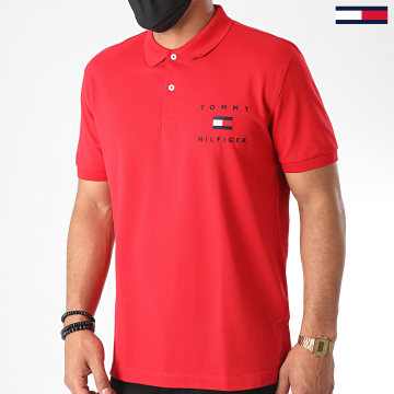 Tommy Hilfiger - Polo Manches Courtes Tommy Flag 4152 Rouge