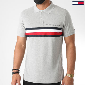 Tommy Hilfiger - Polo Manches Courtes Global STP Chest Tape 4439 Gris Chiné