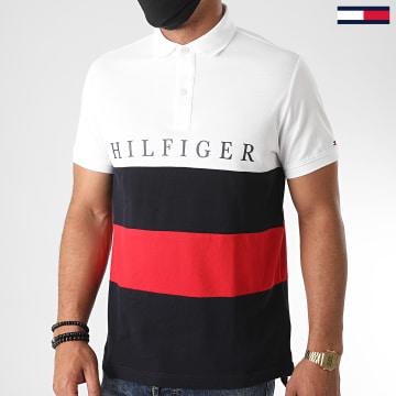 Tommy Hilfiger - Polo Manches Courtes Tricolore Striped Color Block 4440 Bleu Marine