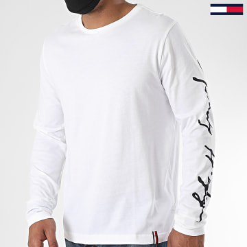 Tommy Hilfiger - Tee Shirt Manches Longues Signature Sleeve 4552 Blanc