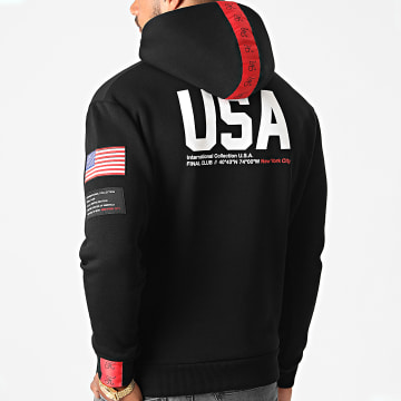 Final Club - Sweat Capuche Capsule USA Avec Patchs Et Broderie 365 Noir