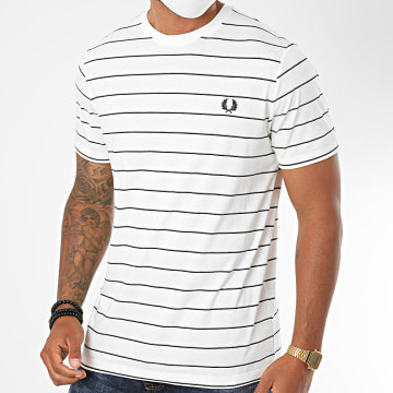 Fred Perry - Tee Shirt A Rayures Fine Stripe M8532 Blanc