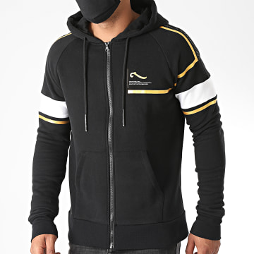La Piraterie - Sweat Zippé Capuche Black Sam Noir Doré Blanc
