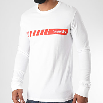Superdry - Tee Shirt Manches Longues Core Logo Sport Stripe M6010078A Blanc
