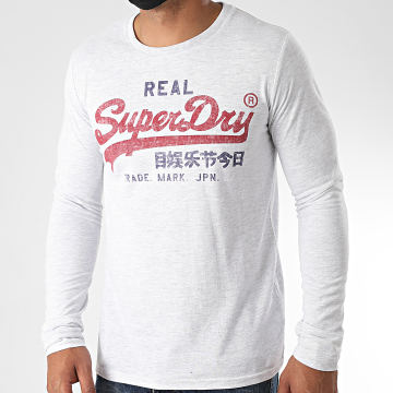 Superdry - Tee Shirt Manches Longues VL Premium Goods M6010074A Gris Chiné