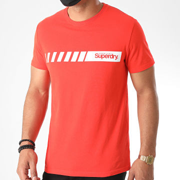Superdry - Tee Shirt Core Logo Sport Stripe M1010168A Rouge