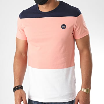 Superdry - Tee Shirt Tricolore Collective Colour Block M1010149A Rose Bleu Marine Blanc