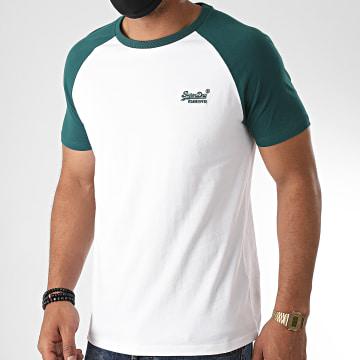 Superdry - Tee Shirt OL Baseball M1010179A Blanc Vert