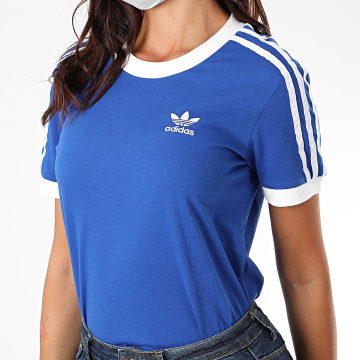 Adidas Originals - Tee Shirt Femme A Bandes 3 Stripes GD2442 Bleu Roi