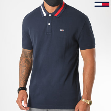 Tommy Jeans - Polo Manches Courtes Flag Neck 6576 Bleu Marine