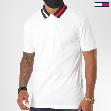Tommy Jeans - Polo Manches Courtes Flag Neck 6576 Blanc