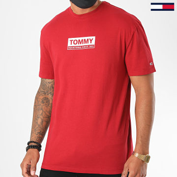 Tommy Jeans - Tee Shirt White Box Logo 8364 Rouge