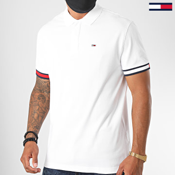 Tommy Jeans - Polo Manches Courtes Branded Sleeve 8375 Blanc