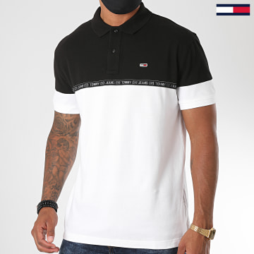 Tommy Jeans - Polo Manches Courtes A Bandes Tape  8378 Blanc Noir