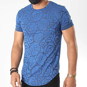 Uniplay - Tee Shirt Oversize Floral UY499 Bleu Roi