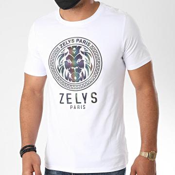 Zelys Paris - Tee Shirt Drago Strass Réfléchissant Iridescent Blanc