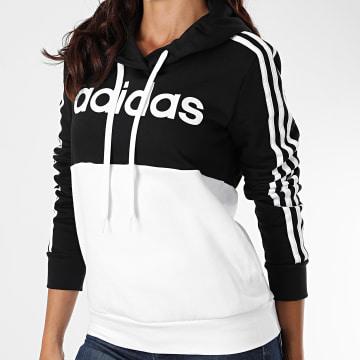 adidas - Sweat Capuche Bicolore Femme A Bandes GL6302 Noir Blanc