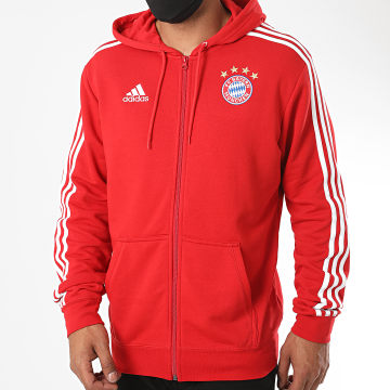Adidas Performance - Sweat Zippé Capuche A Bandes FC Bayern FR3974 Rouge