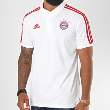 Adidas Performance - Polo Manches Courtes A Bandes FC Bayern FR3973 Blanc