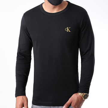 Calvin Klein - Tee Shirt Manches Longues Gold Monogram 7722 Noir Doré