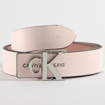 Calvin Klein - Ceinture Femme Cuir Réversible Mono Hardware 6880 Rose Poudré