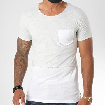 Classic Series - Tee Shirt Poche 064 Gris Chiné Blanc