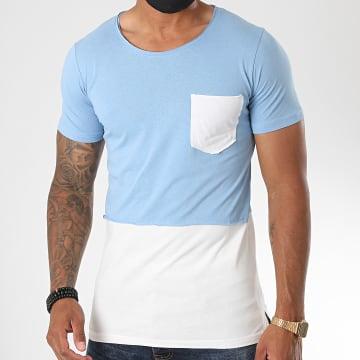 Classic Series - Tee Shirt Poche 064 Bleu Ciel Blanc
