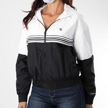 Calvin Klein - Veste Zippée Capuche Femme Bicolore Stripe Tape 4118 Blanc Noir