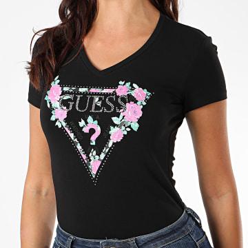 Guess - Tee Shirt Slim Femme Avec Strass W0YI85-J1300 Noir Floral