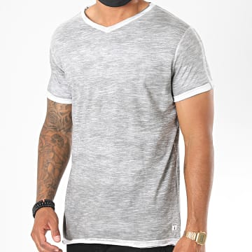 Paname Brothers - Tee Shirt Col V Toto-B Gris Chiné