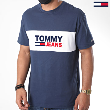 Tommy Jeans - Tee Shirt Pieced Band Logo 8360 Bleu Marine