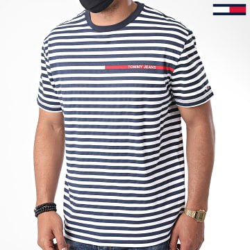 Tommy Jeans - Tee Shirt A Rayures Branded Stripe 8449 Bleu Marine Blanc