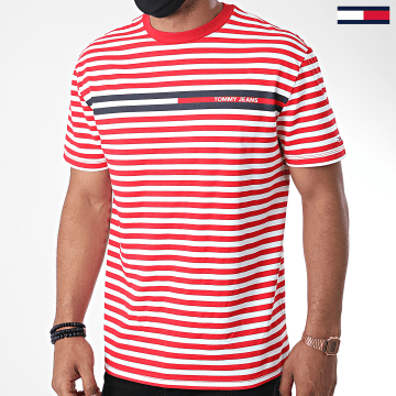 Tommy Jeans - Tee Shirt A Rayures Branded Stripe 8449 Rouge Blanc