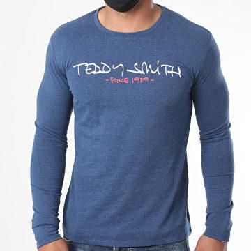 Teddy Smith - Tee Shirt Manches Longues Ticlass Basic Bleu Marine Chiné