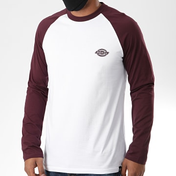 Dickies - Tee Shirt Manches Longues Youngsville Blanc Bordeaux