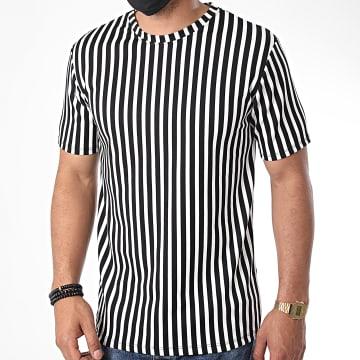 Frilivin - Tee Shirt A Rayures 13920 Blanc Noir