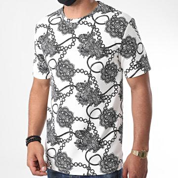 Frilivin - Tee Shirt Renaissance Floral 13921 Blanc Noir