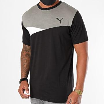 Puma - Tee Shirt De Sport Train Colorblock 519410 Noir Gris