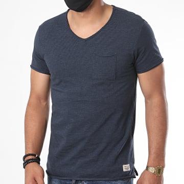 Teddy Smith - Tee Shirt Poche Col V Ago Bleu Marine